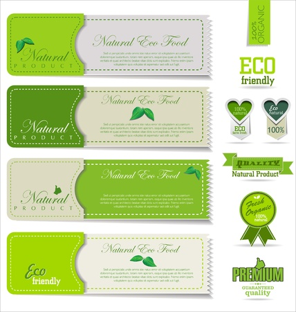 Eco and bio labels and badges