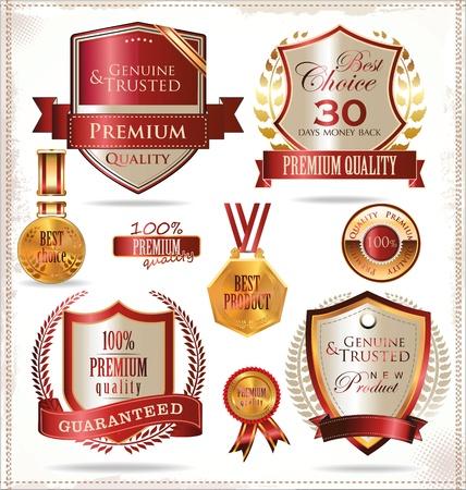 Illustration pour Quality gold andred  labels - image libre de droit
