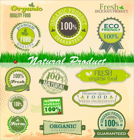 Organic and eco badges and labels