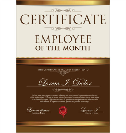Certificate template, employee of the month