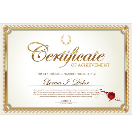 Golden certificate of achievement template, vector illustration
