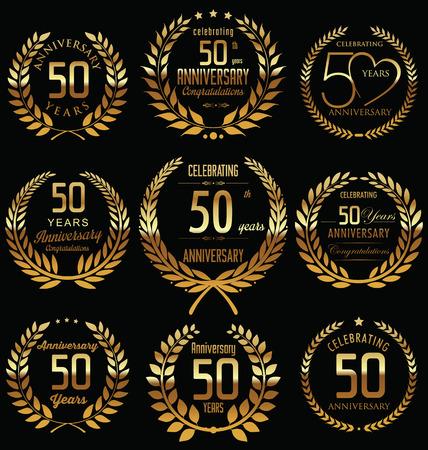 Photo pour 50th Anniversary golden laurel wreath design - image libre de droit