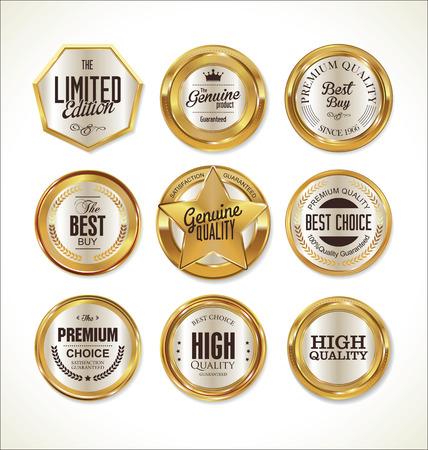 Illustration pour Quality golden badges and labels collection - image libre de droit