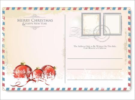 Illustration pour Vintage Christmas Postcard - image libre de droit