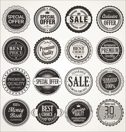 Illustration for Premium, quality retro vintage labels collection - Royalty Free Image