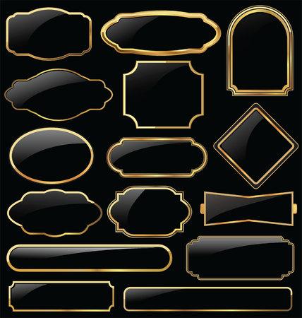 Foto de Metal plates premium quality golden collection - Imagen libre de derechos