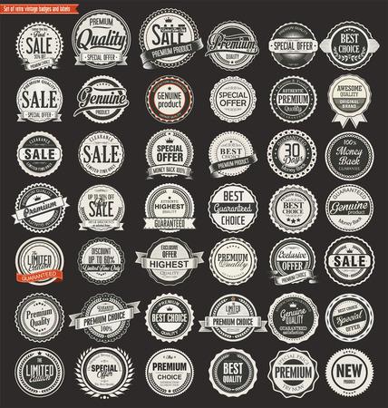Illustration pour Sale retro vintage badges and labels - image libre de droit