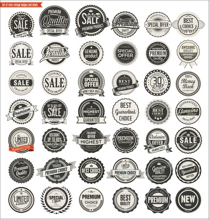 Ilustración de Quality retro vintage badges and labels collection - Imagen libre de derechos