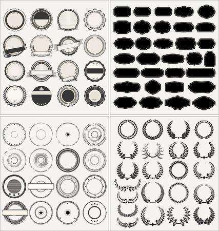 Illustration pour Set of empty retro vintage frames laurels badges and post stamp - image libre de droit