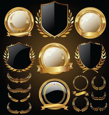 Ilustración de Vector medieval golden shields laurel wreaths and badges collection - Imagen libre de derechos