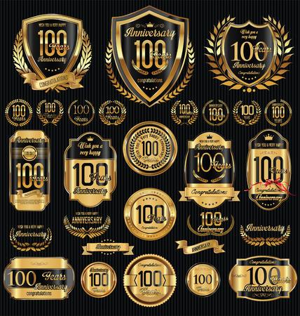 Ilustración de Anniversary golden shields laurel wreaths and badges collection - Imagen libre de derechos