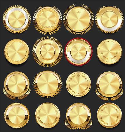 Ilustración de retro vintage badges golden collection vector illustration - Imagen libre de derechos