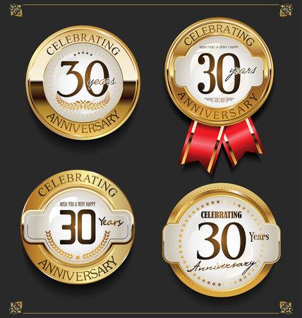 Ilustración de Collection of Elegant golden anniversary background - Imagen libre de derechos