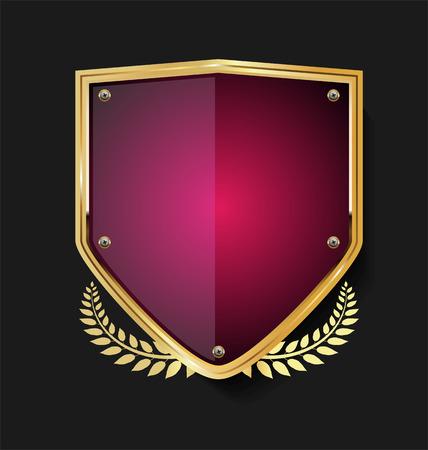 Photo pour Golden shield and laurel wreath retro design - image libre de droit