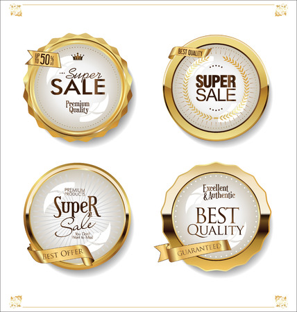 Illustration for Luxury premium golden badges and labels - Royalty Free Image