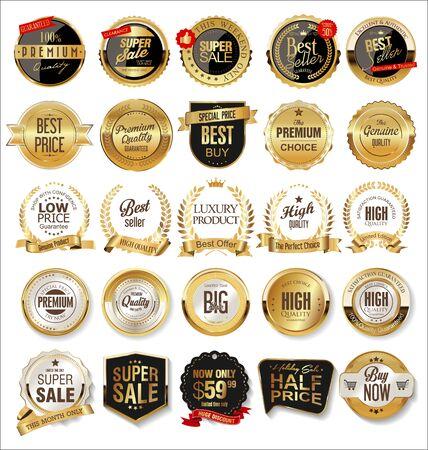 Illustration pour Luxury premium golden badges and labels - image libre de droit