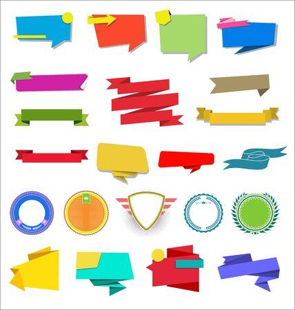 Illustration pour A collection of various ribbons labels and badges - image libre de droit