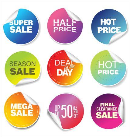 Illustration pour modern colorful sale stickers collection - image libre de droit