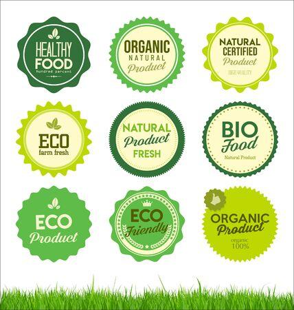 Illustration pour set healthy organic farm fresh product badges - image libre de droit