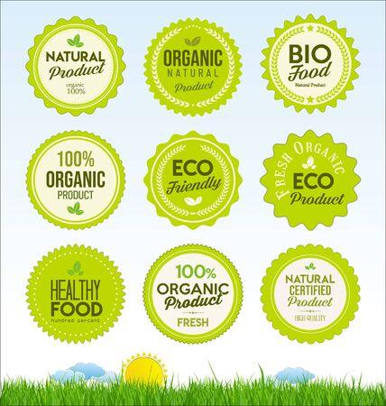 Illustration for set healthy organic farm fresh product badges - Royalty Free Image