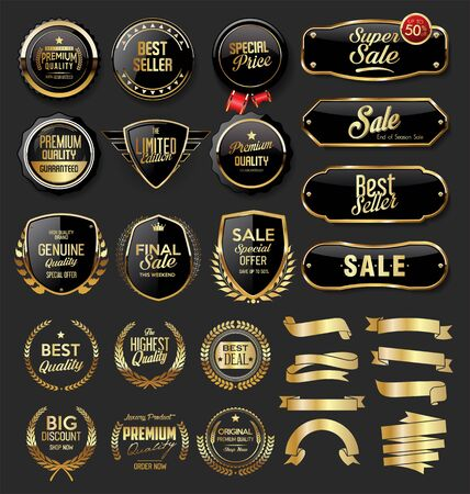 Illustration for Gold and black badges and labels - Royalty Free Image