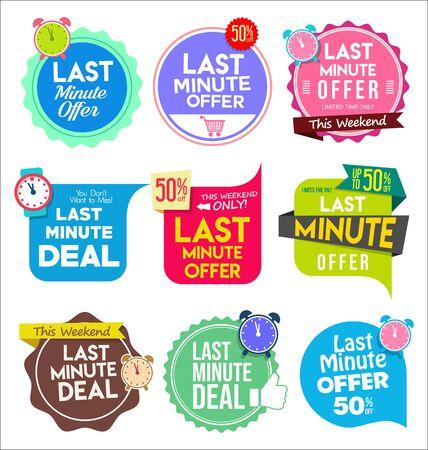 Illustration pour Modern colorful tags and stickers last minute offer - image libre de droit