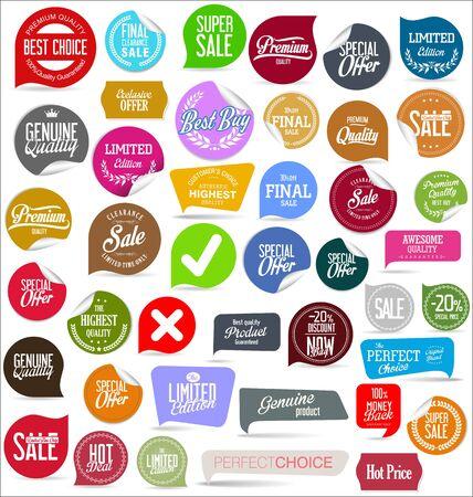 Illustration pour Sale banner templates design and special offer tags collection - image libre de droit