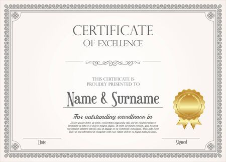 Illustration for certificate or diploma retro design - Royalty Free Image
