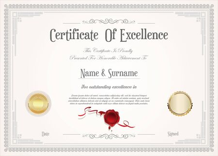 Illustration pour certificate or diploma retro design - image libre de droit