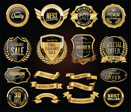 Illustration for Retro vintage golden badges labels badges and shields collection - Royalty Free Image
