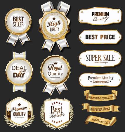 Illustration pour Retro vintage golden badges labels badges and shields - image libre de droit