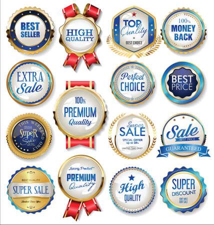 Illustration pour Golden badge and labels - image libre de droit