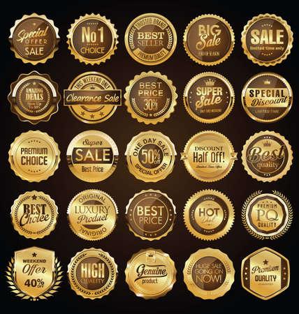 Illustration pour Retro vintage golden badges and labels collection - image libre de droit