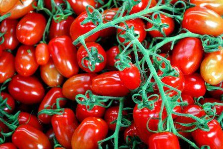 small sweet rosalita tomatoes on market stall