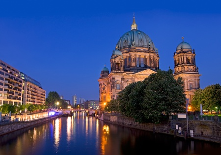 Berlin Dome after sunset with river spree and deep blue sky