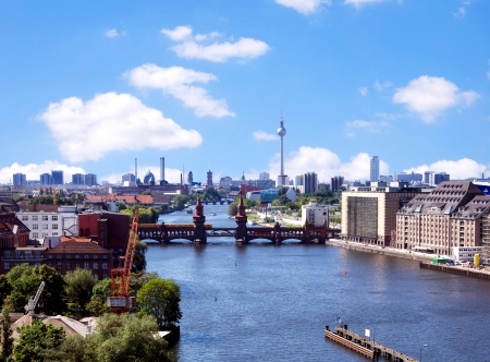 berlin skyline aerial view with river spree and oberbaumbruecke