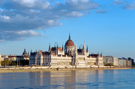 parliament of budapest and river danube at sunset