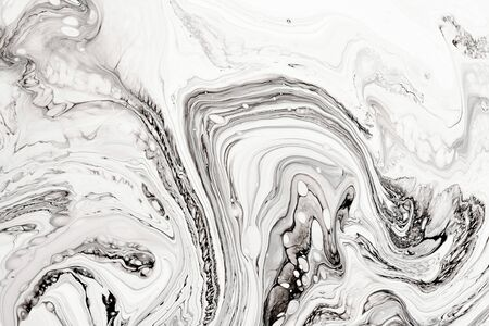 Photo pour Abstract ink fluid marbled texture. Luxurious granite, marble mineral pattern wallpaper. Black and white minimalist liquid, fluid art backdrop. Oil, paint mix resin artwork - image libre de droit