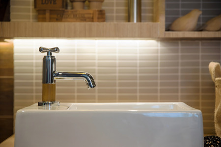 wash basin and faucet in luxury bathroom