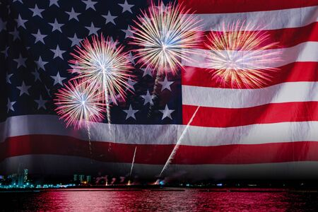 Photo for Double exposure of Amazing beautiful colorful fireworks display on celebration night with USA flag, showing on the sea beach with multi color of reflection on water. 4th July Independence day concept - Royalty Free Image