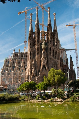 The Sagrada Familia in Barcelona, Spain. designed by Catalan architect Antoni Gaudí and now a World Heritage Site.