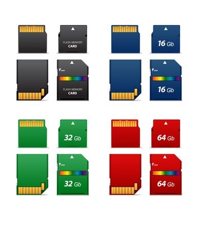 Illustrazione per Set of flash cards differet capacity  - Immagini Royalty Free