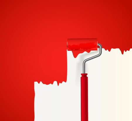Background of red roller painting the wall