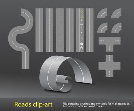 Vector road elements set