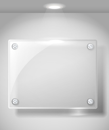 Square advertising glass board with a spot lignt. Place your text on it