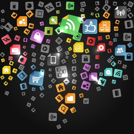 Modern social abstract media icons falling down