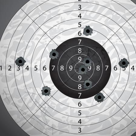 Gun bullet s holes on paper target