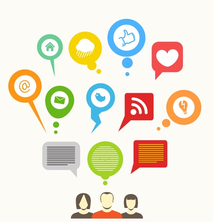 Illustration for Social media network abstract speech bubbles - Royalty Free Image
