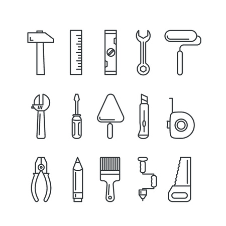Illustration pour Different industrial equipment. Vector tool icons - image libre de droit