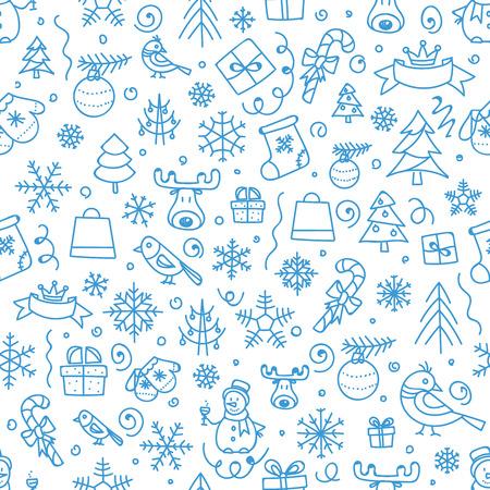 Illustration pour Christmas season vector seamless pattern. Xmas hand-drawn elements - image libre de droit